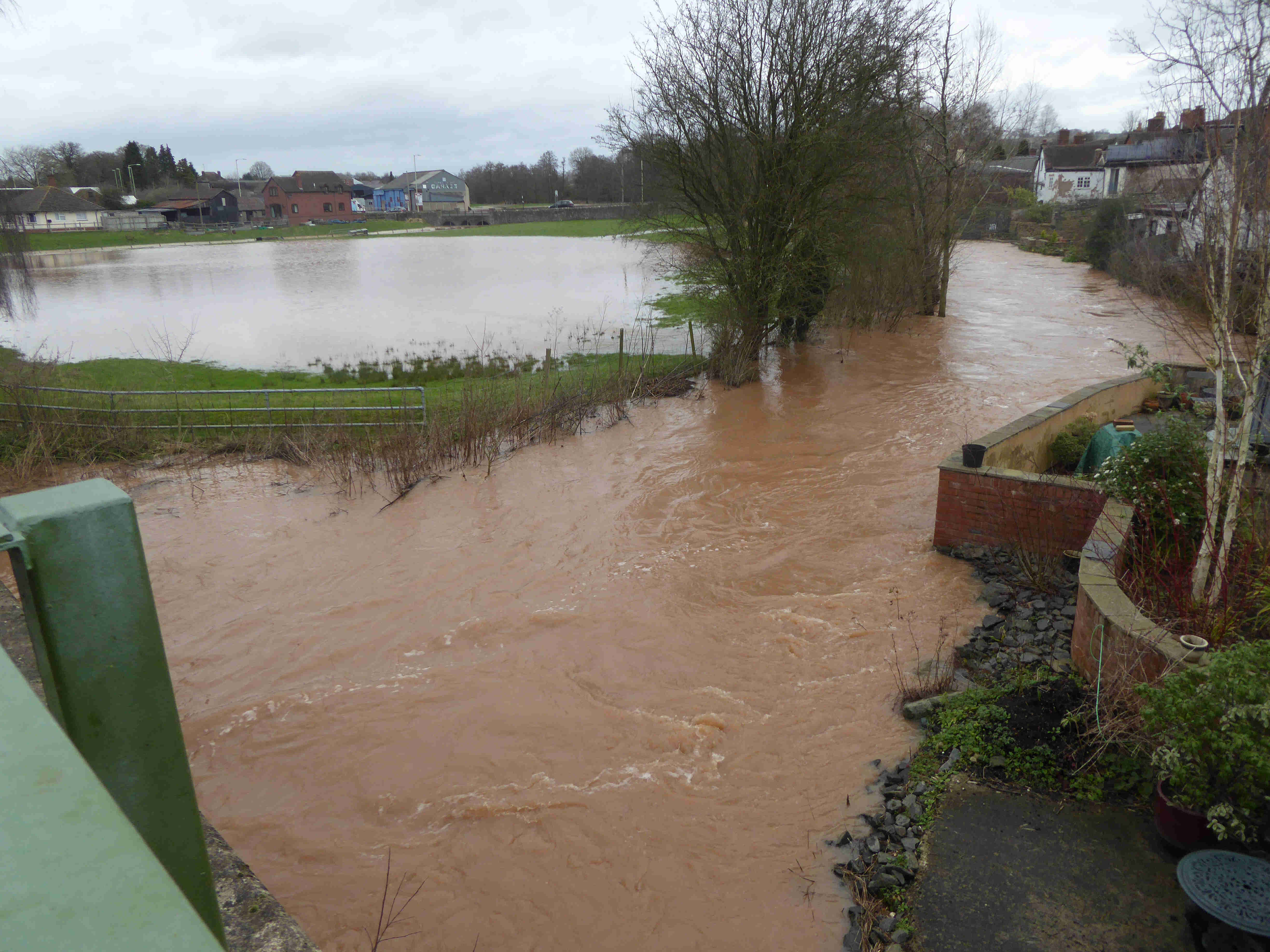 flooding in Ludlow - river Corve Feb 2016